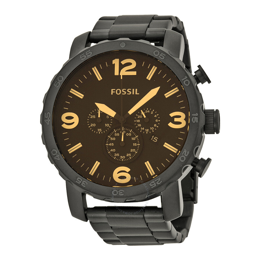 fossil nate chronograph black ion plated men 39 s watch. Black Bedroom Furniture Sets. Home Design Ideas