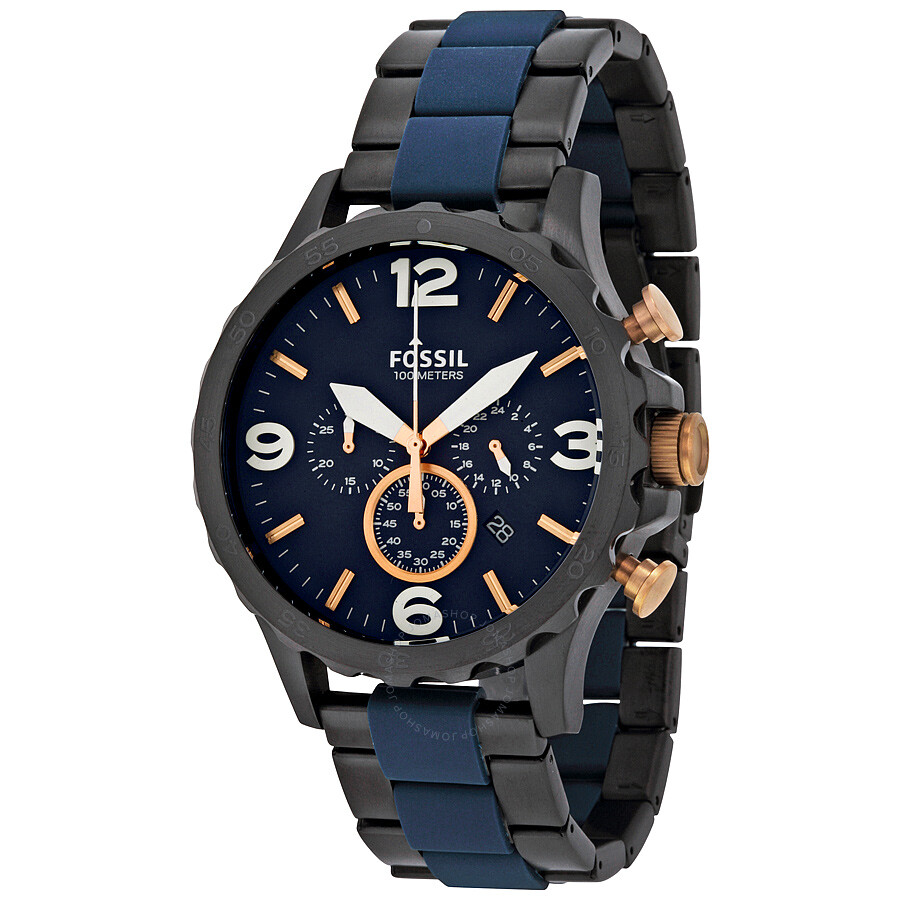 Fossil nate chronograph blue dial men 39 s watch jr1494 nate fossil watches jomashop for Fossil watches