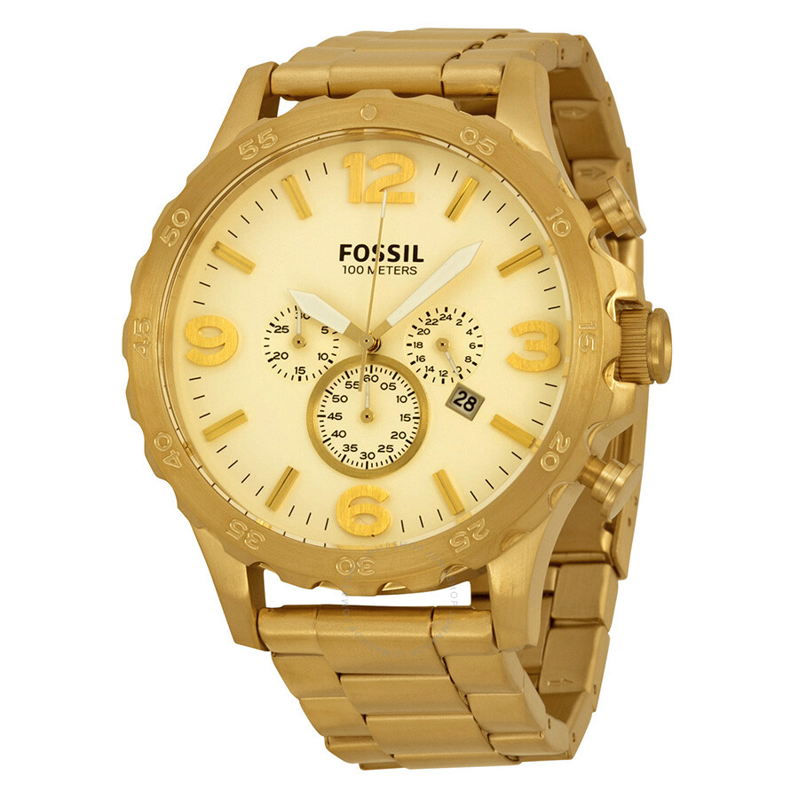fossil nate chronograph chagne gold tone s