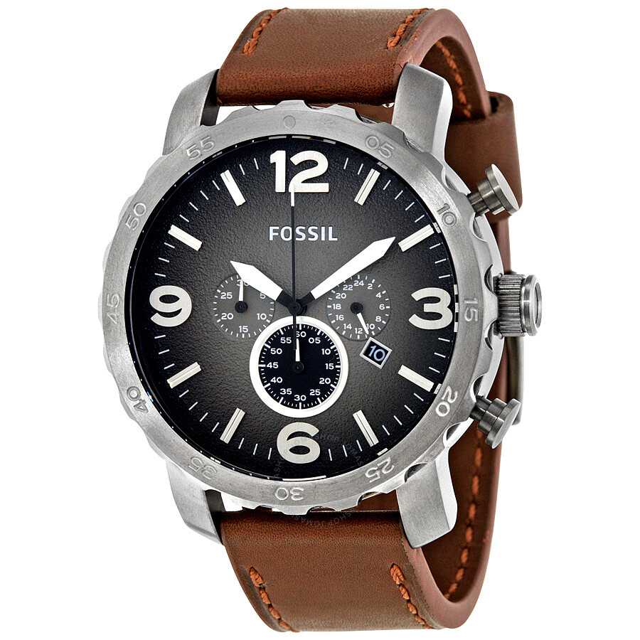 fossil nate chronograph grey dial brown leather men s watch jr1424