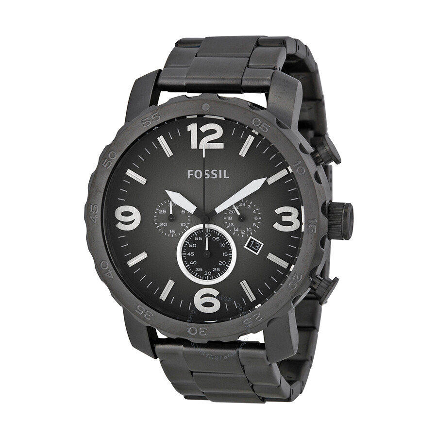 fossil nate chronograph smoke grey dial ion plated men 39 s. Black Bedroom Furniture Sets. Home Design Ideas