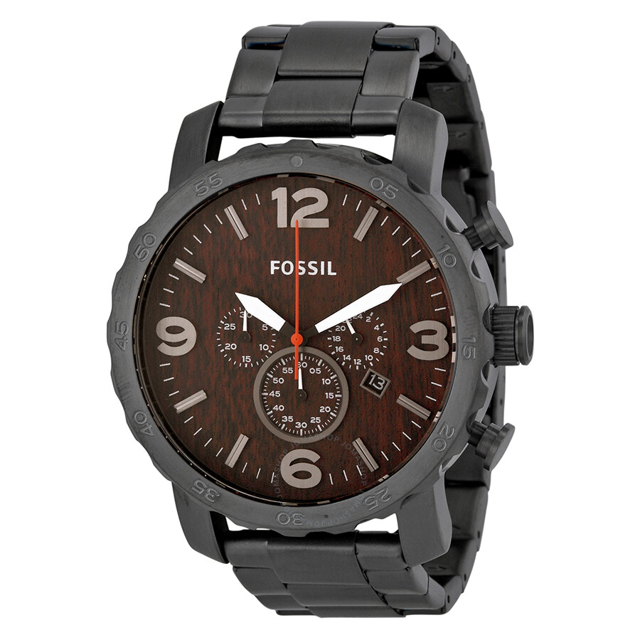 Fossil nate chronograph wood dial stainless steel men 39 s watch jr1355 nate fossil watches for Fossil watches