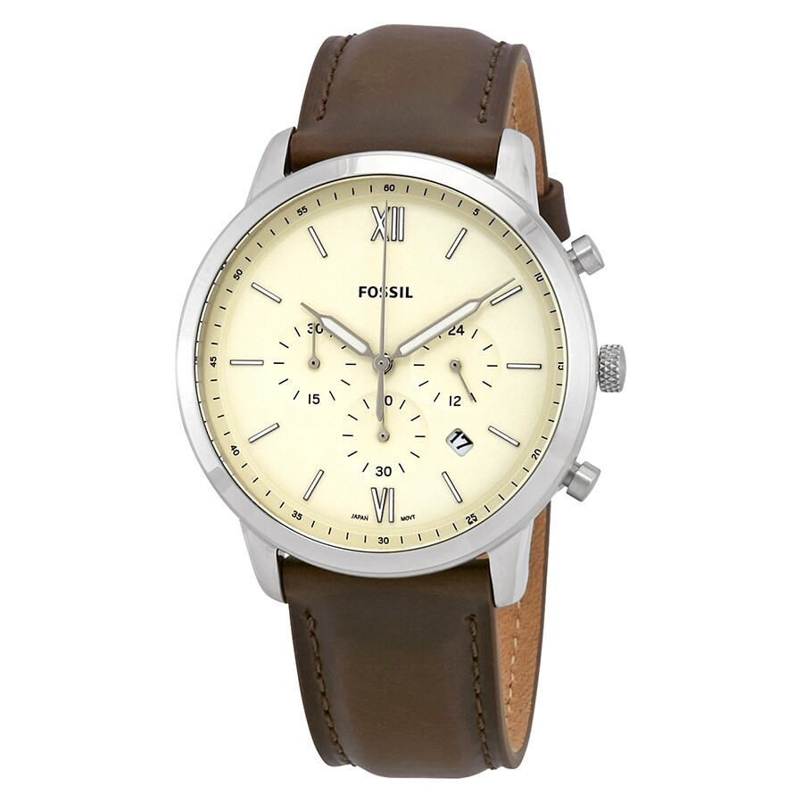 74654a412af Fossil Neutra Chronograph Cream Dial Brown Leather Men s Watch FS5380 ...