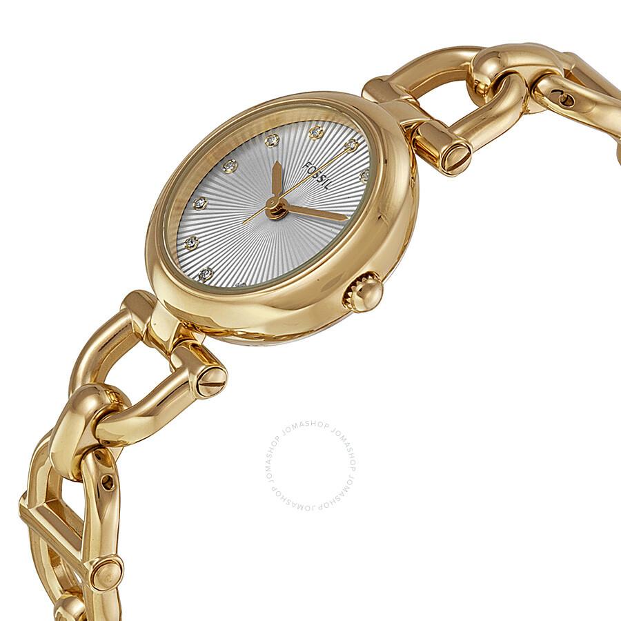 Fossil Olive Silver Tone Dial Gold Steel Link Bracelet Las Watch Es3349