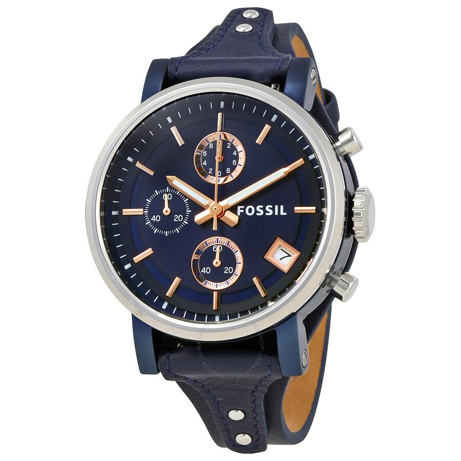 fossil original boyfriend chronograph blue dial ladies