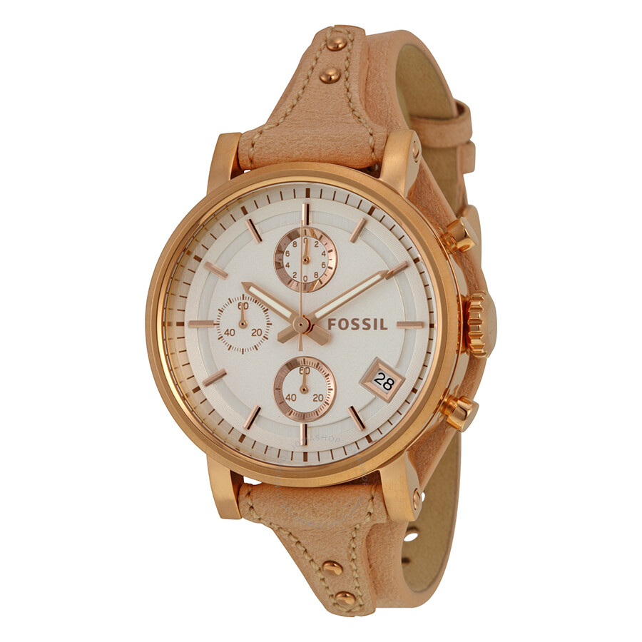 fossil original boyfriend chronograph white dial beige. Black Bedroom Furniture Sets. Home Design Ideas