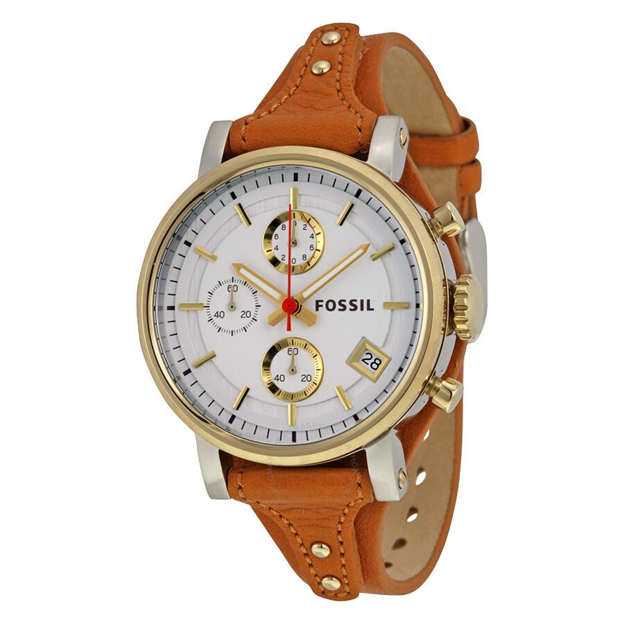 Fossil original boyfriend chronograph white dial tan for Nice watch for boyfriend