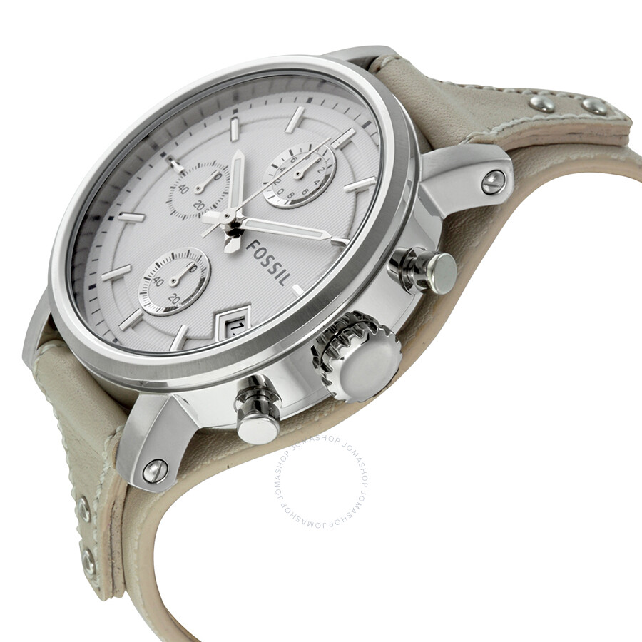 fossil original boyfriend white dial chronograph leather. Black Bedroom Furniture Sets. Home Design Ideas