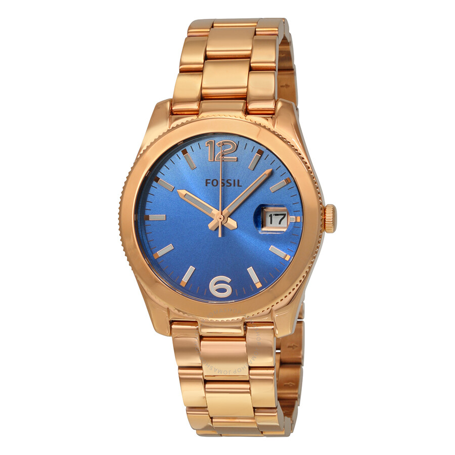 Fossil perfect boyfriend blue gradient dial rose gold tone stainless steel ladies watch es3780 for Gradient dial watch