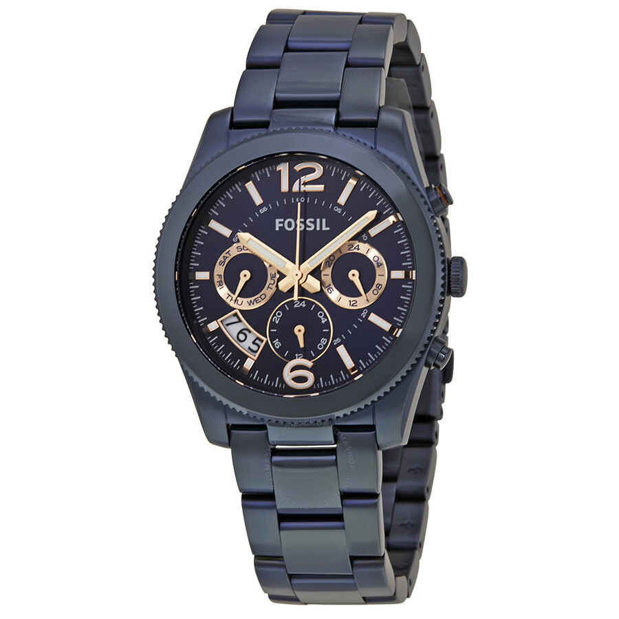 Fossil Perfect Boyfriend Navy Blue Dial Ladies Watch ES4093 ... b78f920c44