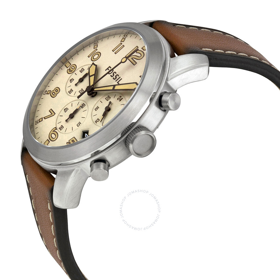 Fossil Pilot 54 Beige Dial Chronograph Leather Strap Men's Watch FS5144 - Pilot  54 - Fossil - Watches - Jomashop
