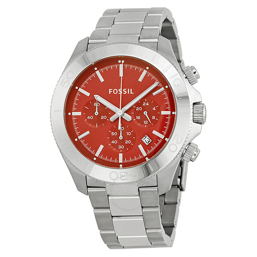 fossil retro traveler chronograph red dial stainless steel menu0027s watch ch2866