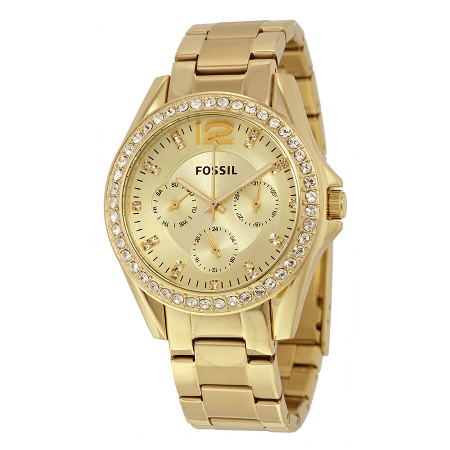 fossil riley multifunction champagne dial ladies watch