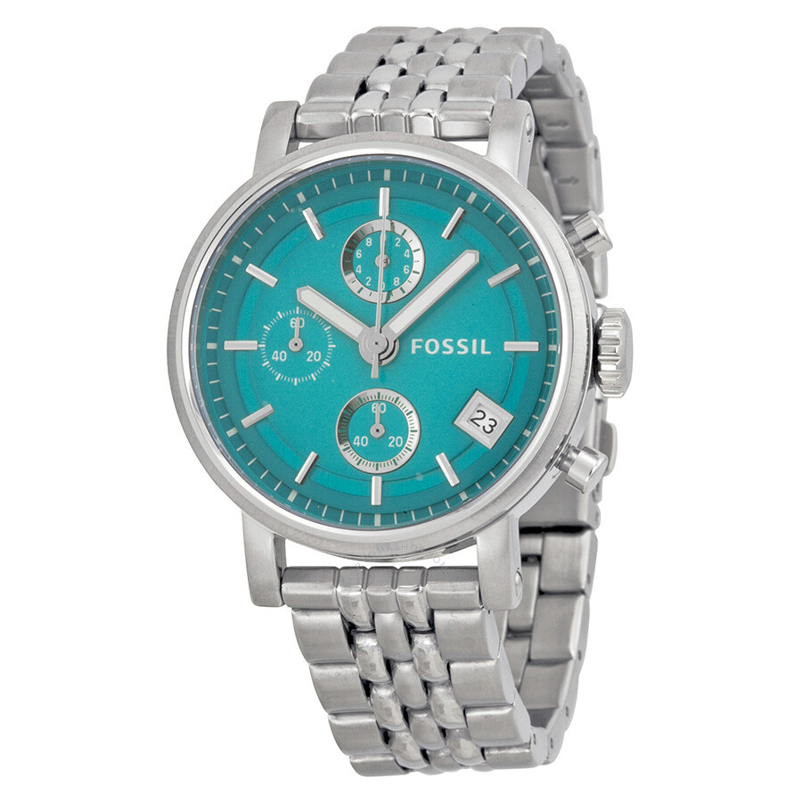 Fossil riley multi function aqua dial stainless steel ladies watch es3571 riley fossil for Aqua marine watches