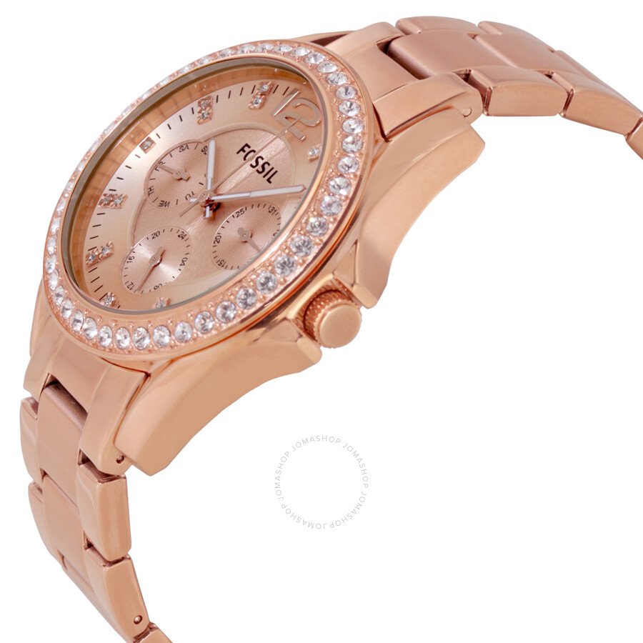 fossil riley multifunction rose gold plated ladies watch es2811 riley fossil watches. Black Bedroom Furniture Sets. Home Design Ideas