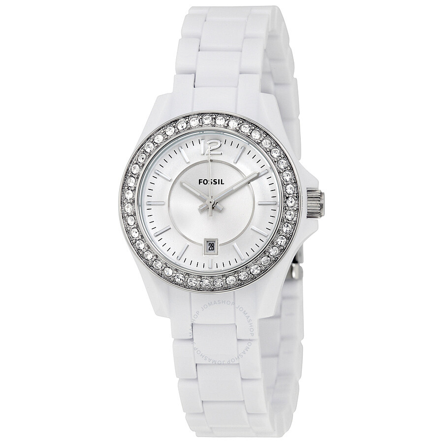 Fossil riley white dial crystal white resin ladies watch es3251 riley fossil watches for Crystal ladies watch