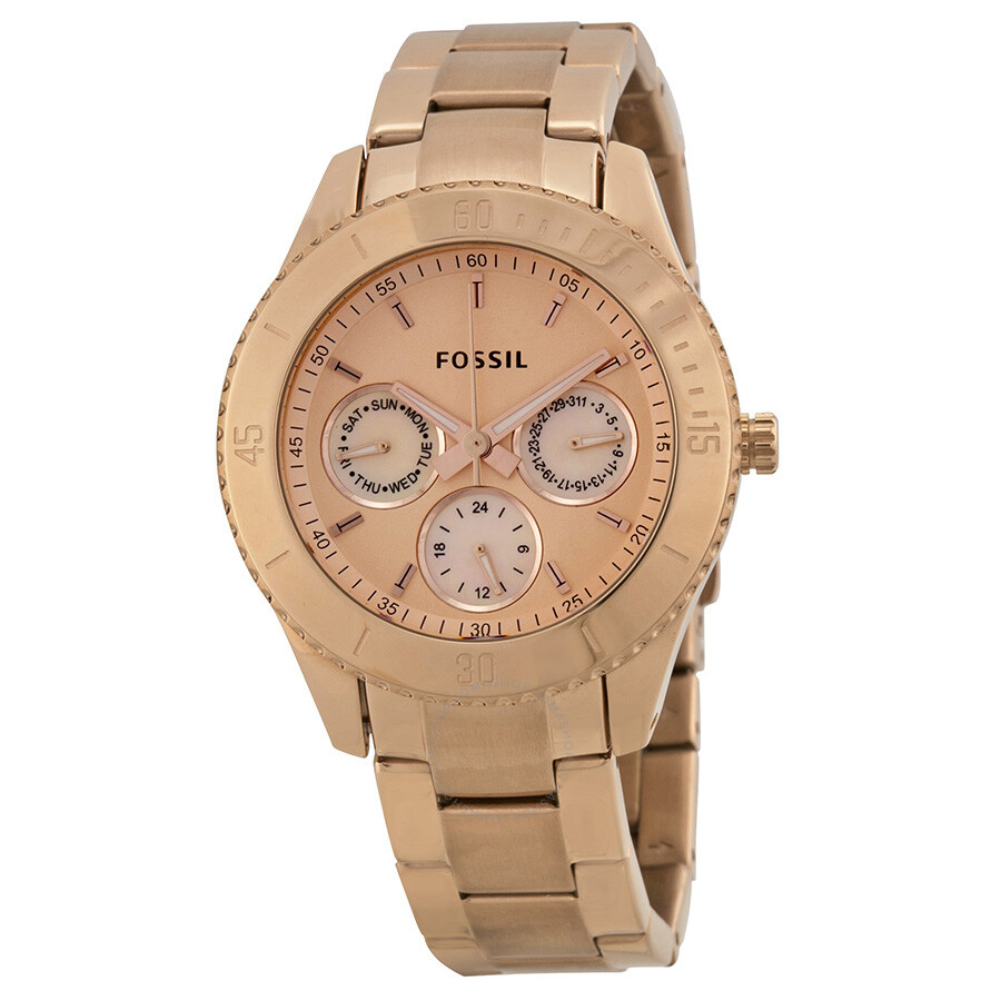fossil stella chronograph multifunction rose gold tone ladies watch es2859 stella fossil. Black Bedroom Furniture Sets. Home Design Ideas