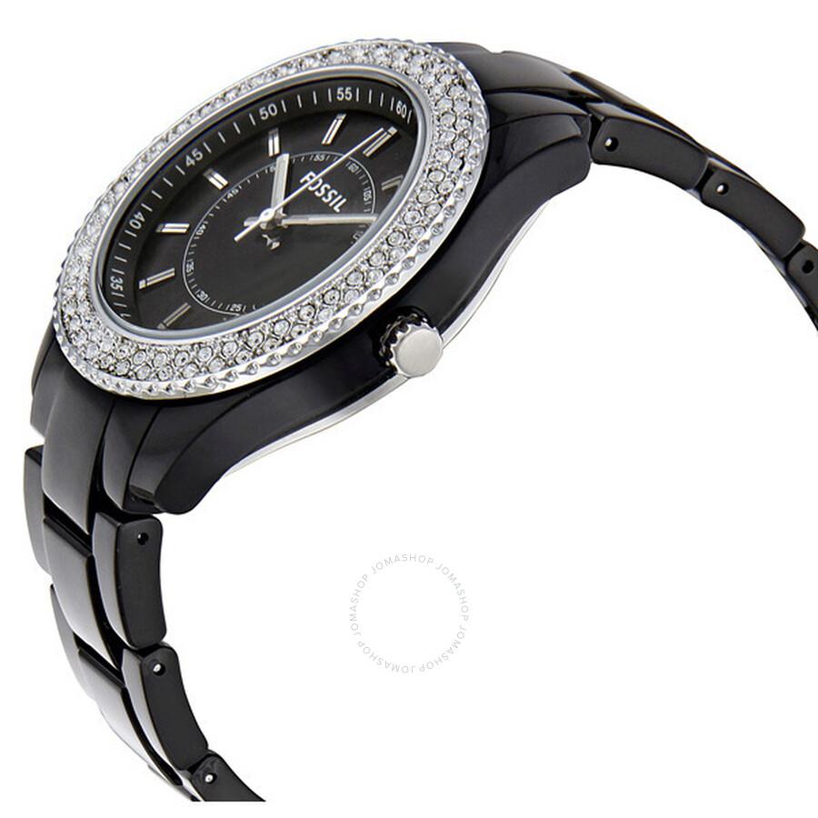 Fossil stella glitz black resin bracelet black dial ladies watch es2445 stella fossil for Black resin ladies watch