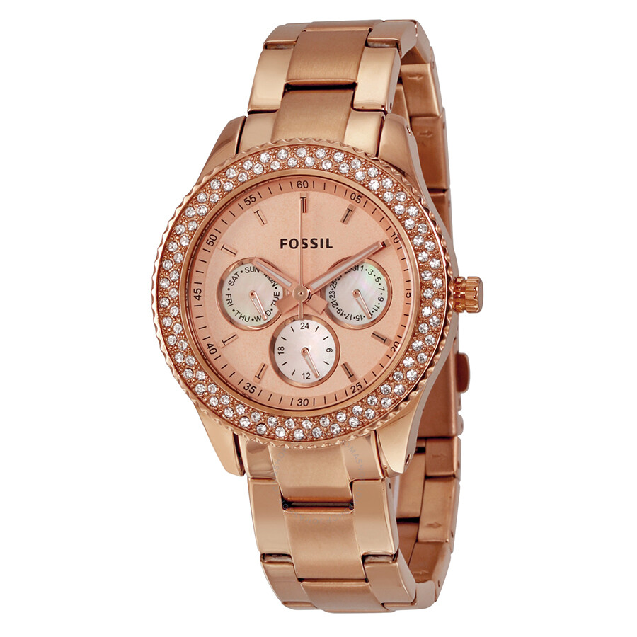 fossil stella glitz mult function rose gold plated ladies watch es3003 stella fossil. Black Bedroom Furniture Sets. Home Design Ideas