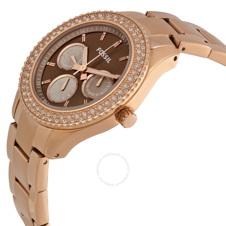Fossil Stella Multi Function Bronze Dial Rose Gold tone Ladies Watch ES3502