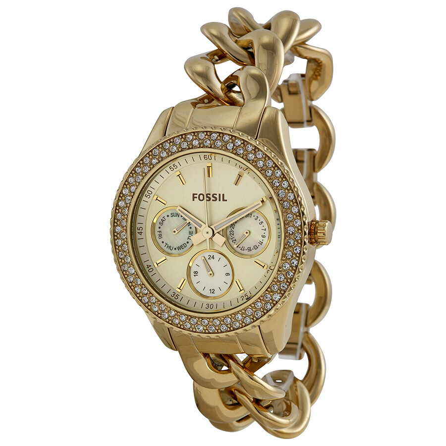 Fossil Stella Multi Function Gold Dial Gold plated Twist Ladies Watch ES3499
