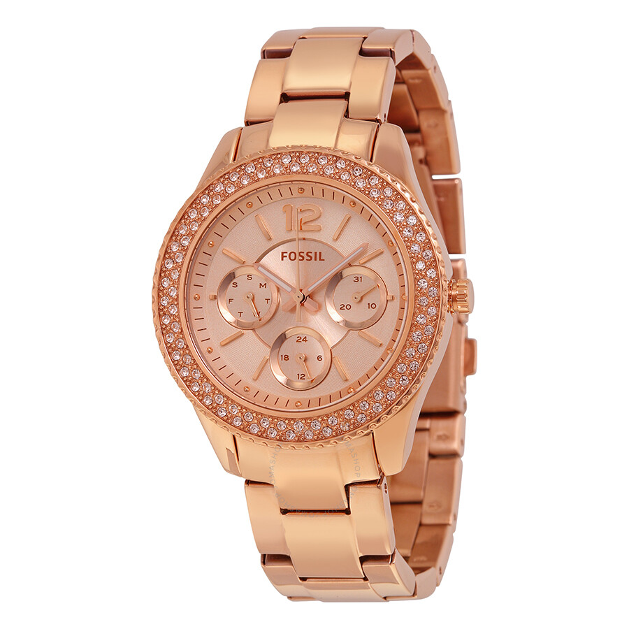 fossil stella rose dial rose gold tone stainless steel ladies watch es3590 stella fossil