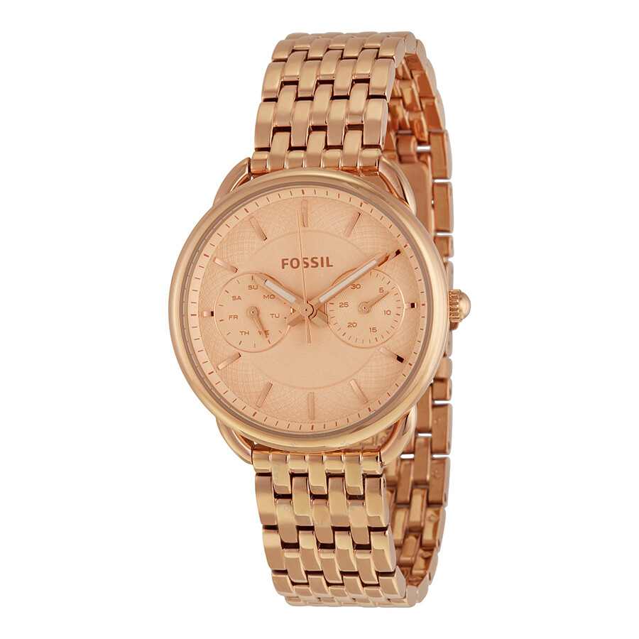 Fossil tailor multifunction rose dial rose gold tone steel ladies watch es3713 tailor fossil for Watches rose gold