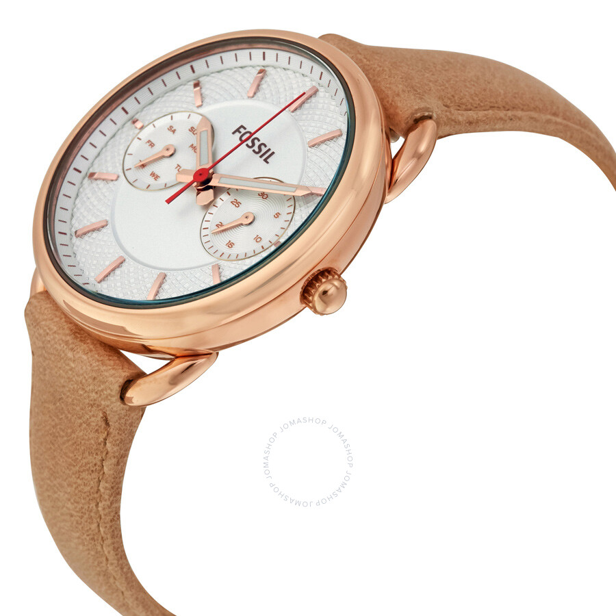 Fossil Tailor Silver Dial Ladies Multifunction Watch Es4007 Es3707 Jacqueline Gray Leather Rose Gold