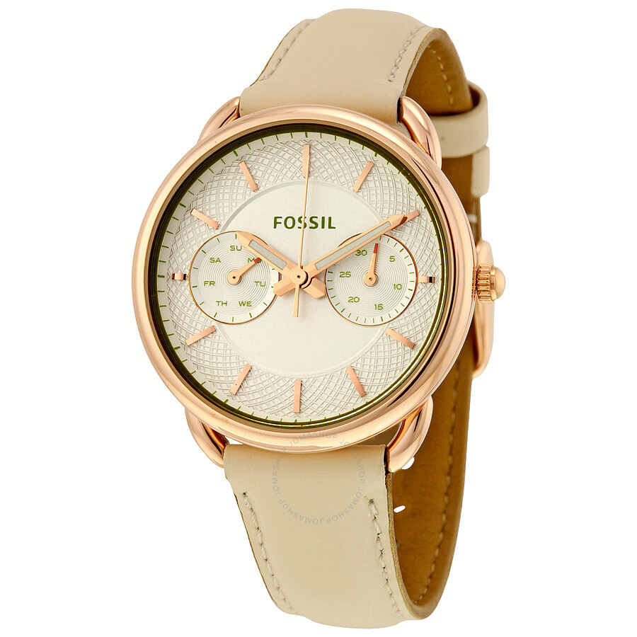 fossil tailor silver dial ladies multifunction watch