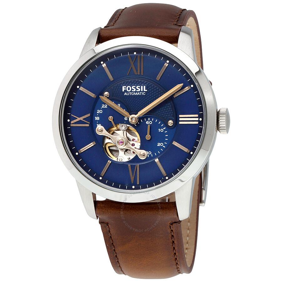 Fossil townsman automatic blue satin dial men 39 s watch me3110 townsman fossil watches for Fossil watches