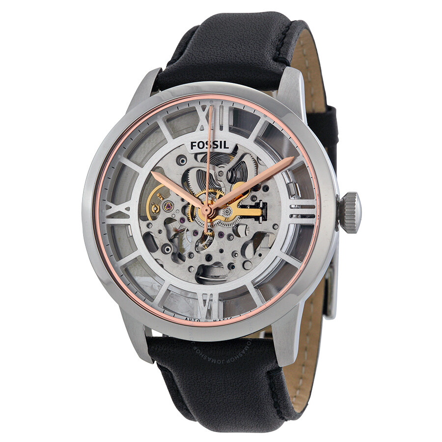 fossil townsman automatic see through dial black leather men s fossil townsman automatic see through dial black leather men s watch me3041