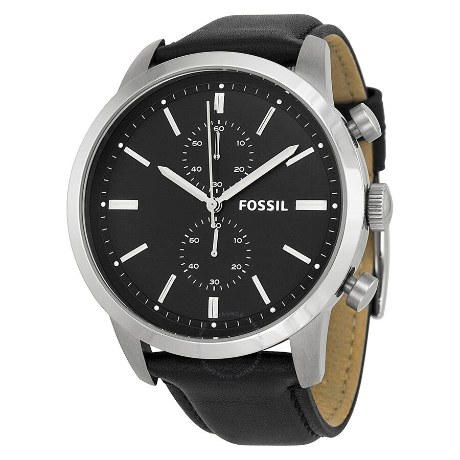Fossil townsman chronograph black dial black leather men 39 s watch fs4866 townsman fossil for Fossil watches