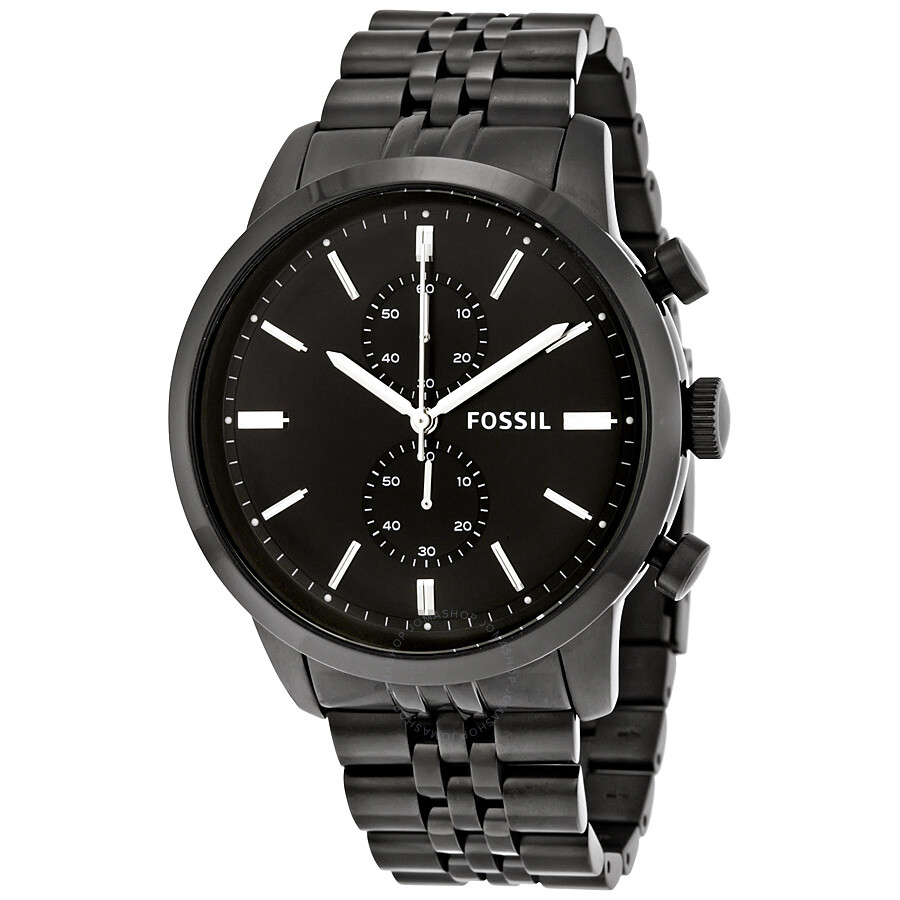 fossil townsman chronograph black dial black plated men 39 s. Black Bedroom Furniture Sets. Home Design Ideas