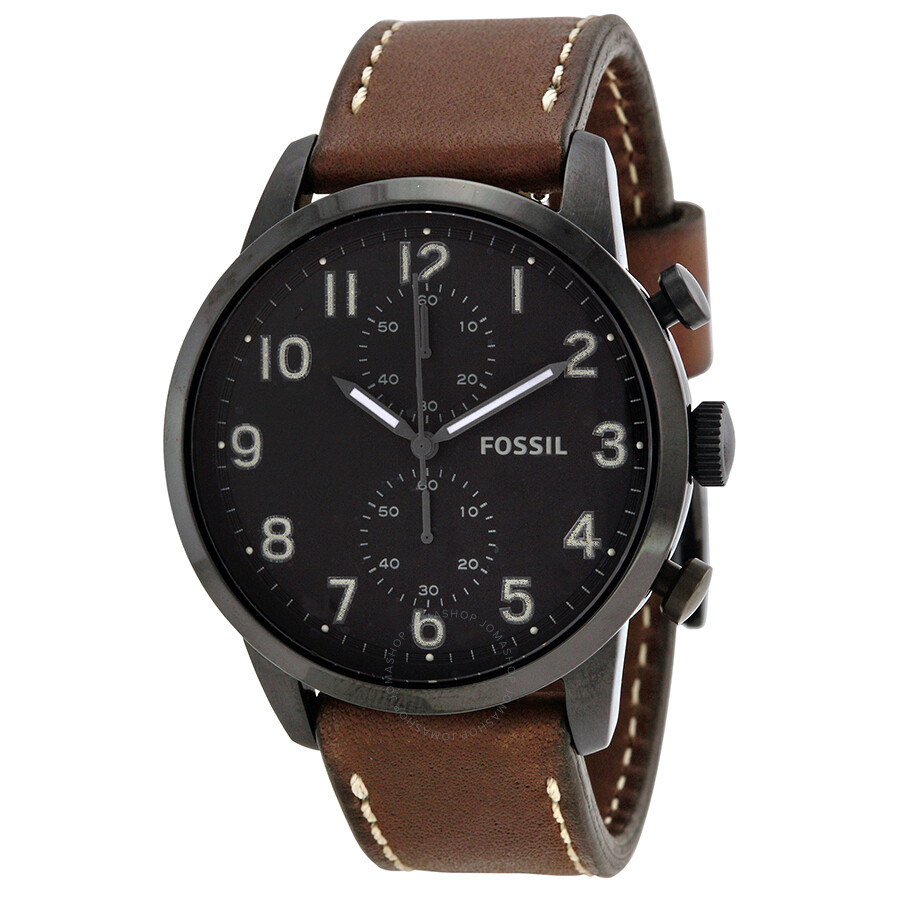 fossil townsman chronograph black dial brown leather men 39 s. Black Bedroom Furniture Sets. Home Design Ideas