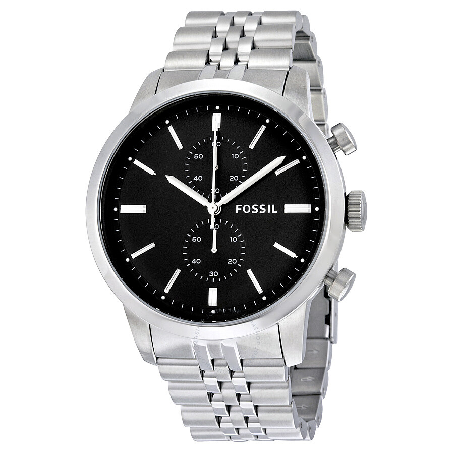 Fossil townsman chronograph black dial men 39 s watch fs4784f townsman fossil watches jomashop for Fossil watches