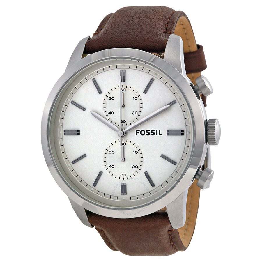 fossil townsman chronograph white brown leather s