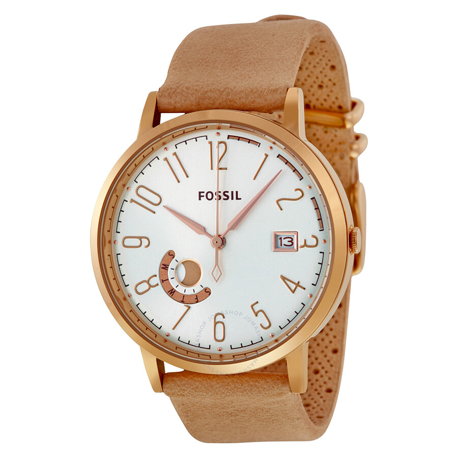 fossil vintage muse silver sand leather