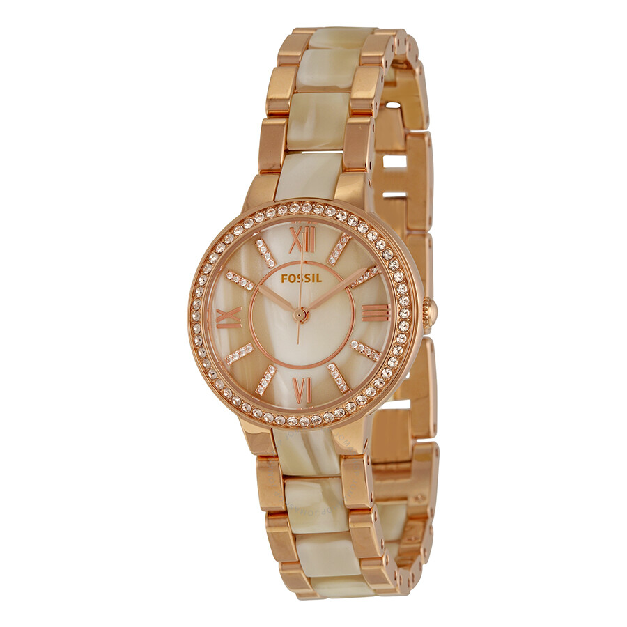2f400363d2b Fossil Virginia Rose Dial Rose Gold-tone and Horn Acetate Ladies Watch  ES3716 ...