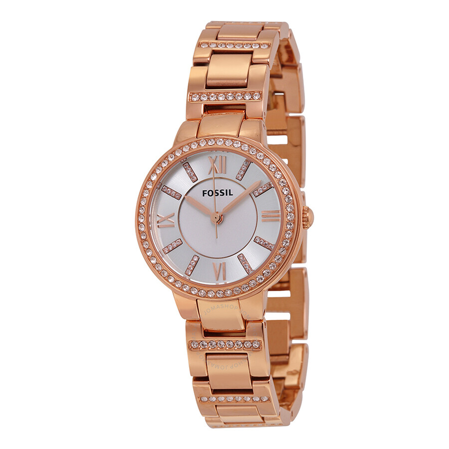 Fossil Virginia Silver Dial Rose Gold-tone Ladies Watch ...