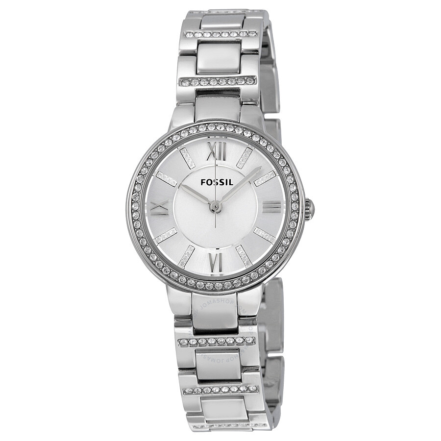 Fossil virginia silver dial stainless steel ladies watch es3282 virginia fossil watches for Stainless steel watch