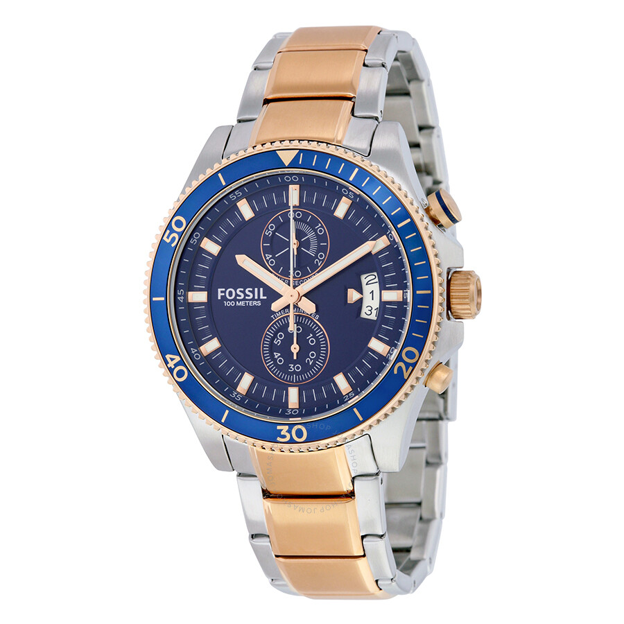 Fossil Wakefield Chronograph Blue Dial Two-tone Men's ...