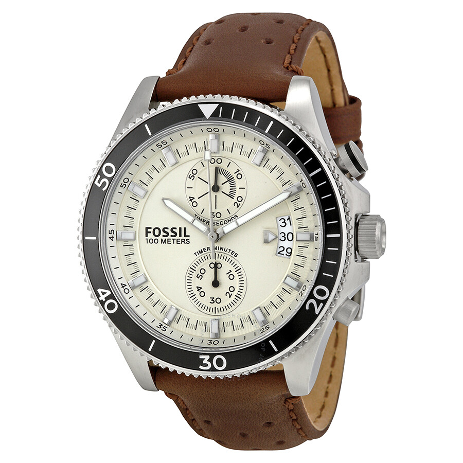 fossil wakefield chronograph eggshell dial brown leather. Black Bedroom Furniture Sets. Home Design Ideas