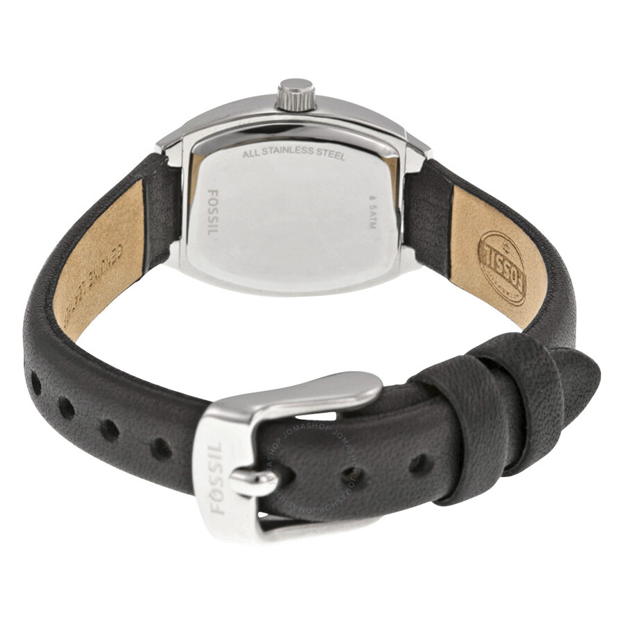 Fossil white dial black leather strap ladies watch bq1214 fossil watches jomashop for Black leather strap
