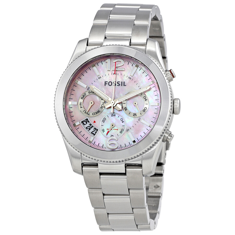 fossilperfect boyfriend pink mother of pearl dial ladies watch es4173 boyfriend fossil