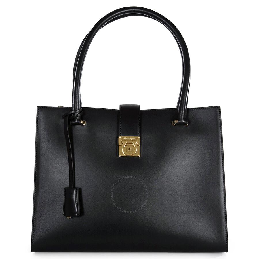 Ferragamo Marlene Black Leather Handbag - Black - Salvatore ... fa0d4b416e