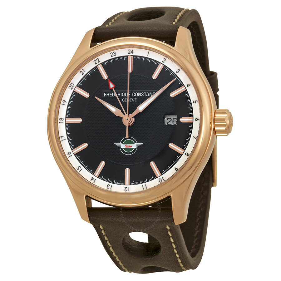 Frederique Constant Healey GMT Brown Dial Brown Leather Men s Watch  FC-350CH5B4 ... d08ef94b28