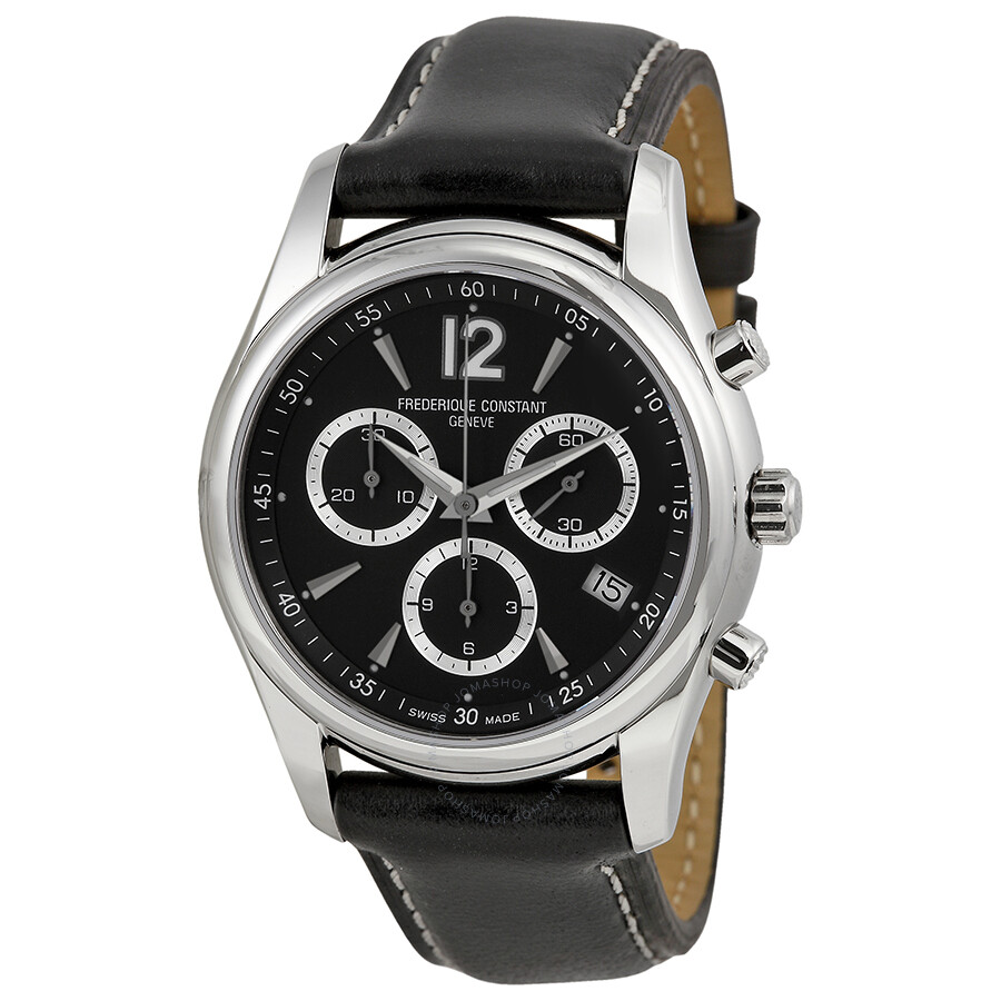 frederique constant junior chronograph black leather