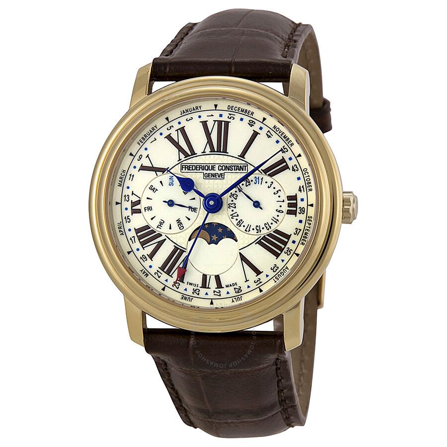 frederique constant multi function white dial brown leather men s frederique constant multi function white dial brown leather men s watch fc 270em4p5