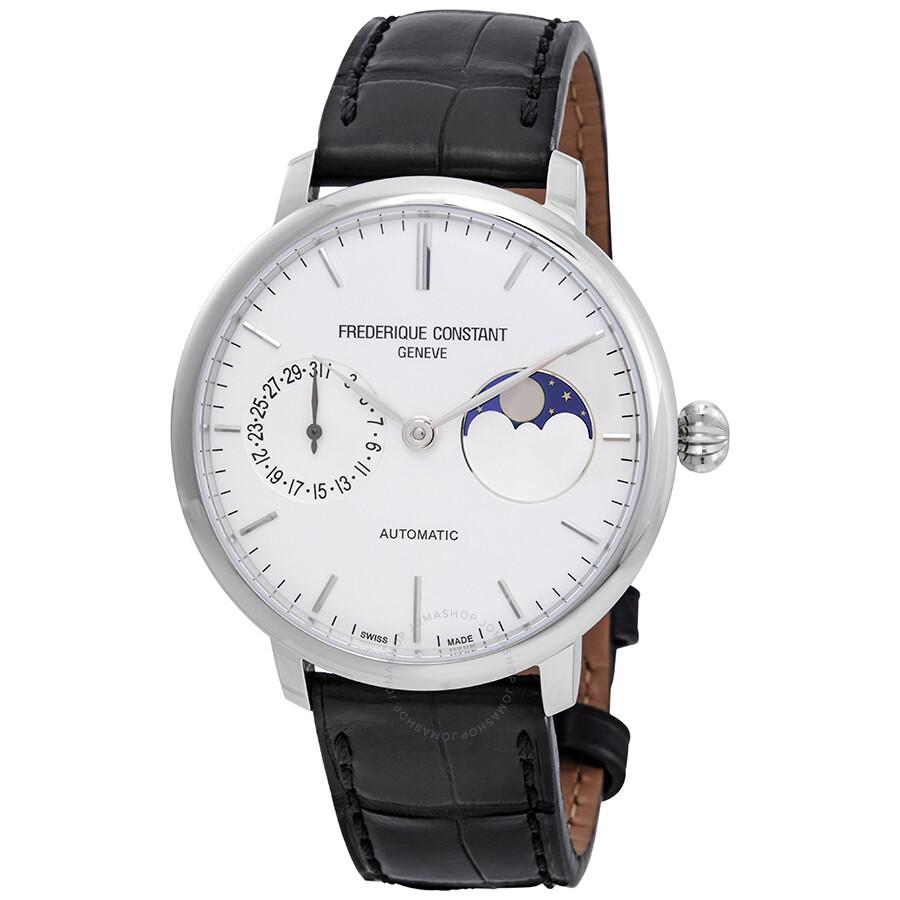 Frederique Constant Slimline Moonphase Automatic Silver Dial Men s Watch  FC-702S3S6 ... 750a50b41d39