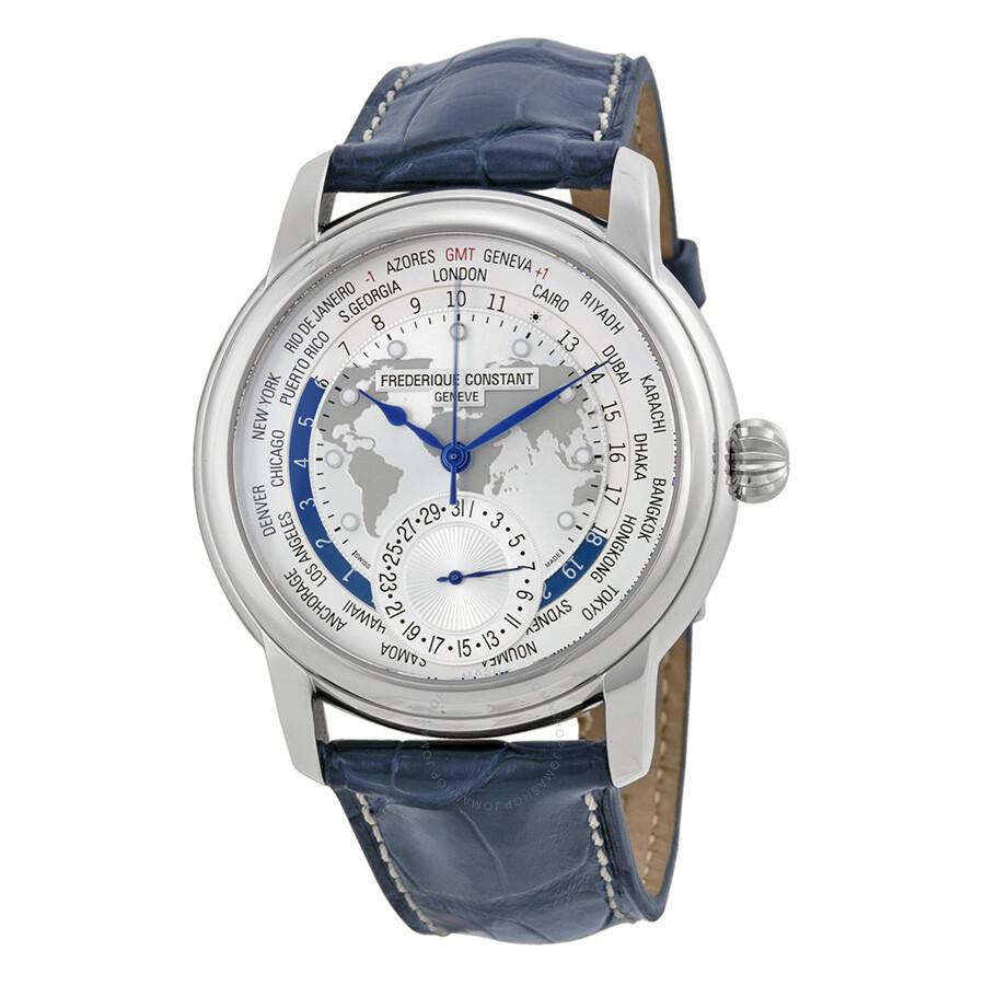 Frederique Constant Worldtimer Automatic Silver Dial Blue ...